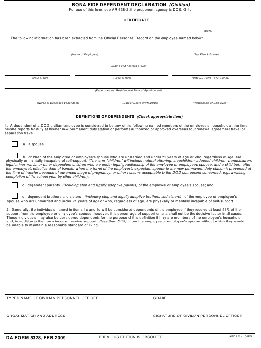 DA Form 5328 Fillable Pdf