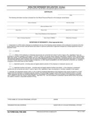 DA Form 5328 Bona Fide Dependent Declaration (Civilian)