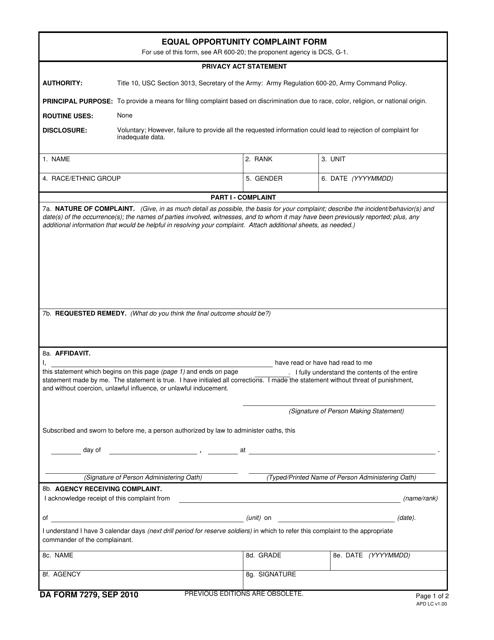 DA Form 7279  Printable Pdf