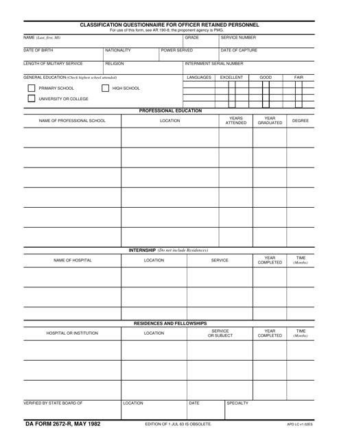 DA Form 2672-R  Fillable Pdf