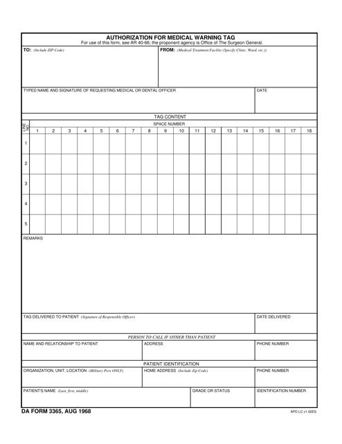 DA Form 3365  Printable Pdf