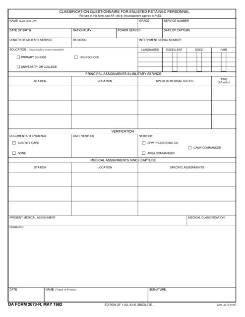 DA Form 2673-R Fillable Pdf