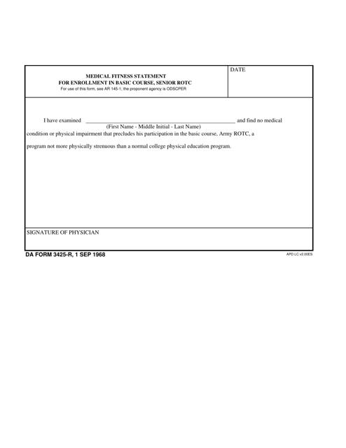 DA Form 3425-R  Printable Pdf