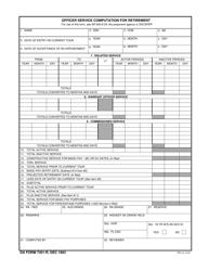 DA Form 7301-R Officer Service Computation for Retirement
