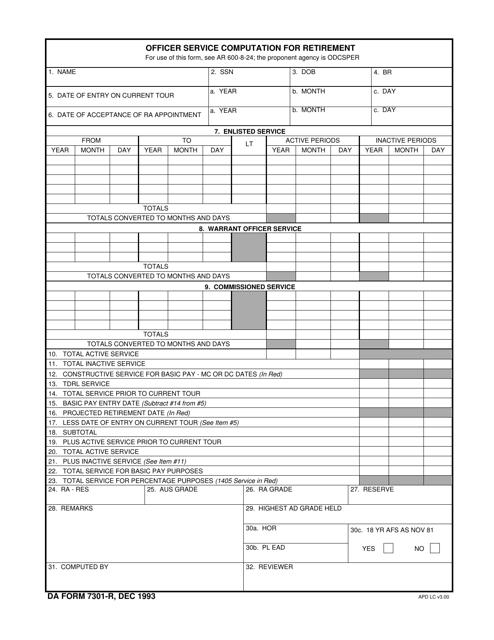 DA Form 7301-R Fillable Pdf