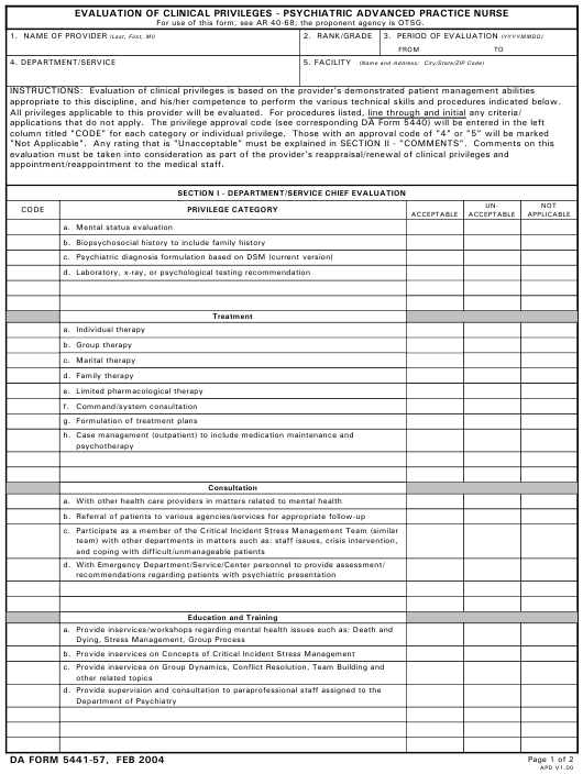 Da Form 5441 57 Download Printable Pdf Or Fill Online Evaluation Of Clinical Privileges Psychiatric Advanced Practice Nurse Templateroller