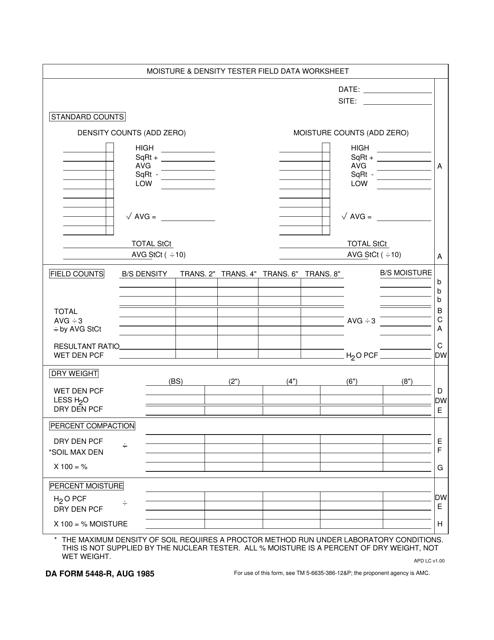 DA Form 5448-R  Printable Pdf