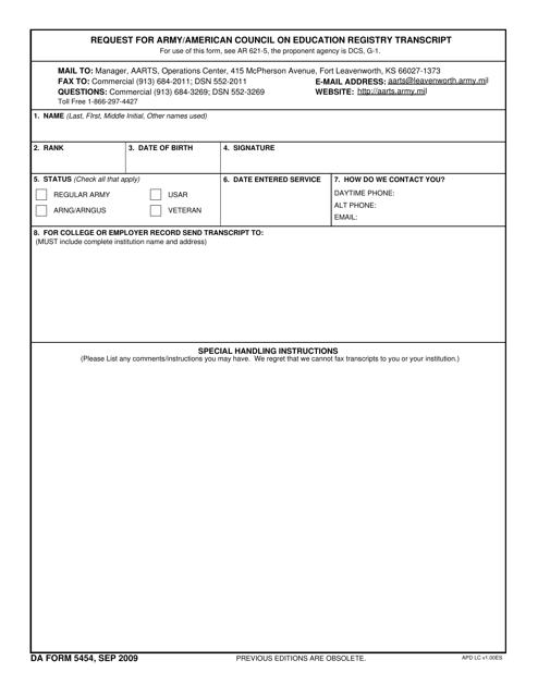 DA Form 5454 Fillable Pdf