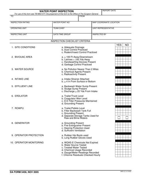DA Form 5456 Fillable Pdf