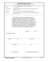 DA Form 5750 Inadvertent Disclosure Oath