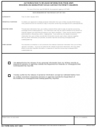 DA Form 5459 Authorization To Release Information From Army Records On Nonsupport/child Custody/paternity Inquiries