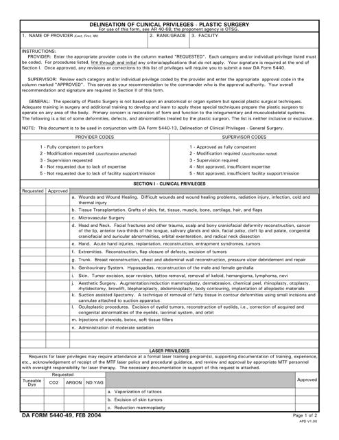 DA Form 5440-49 Download Printable PDF, Delineation of