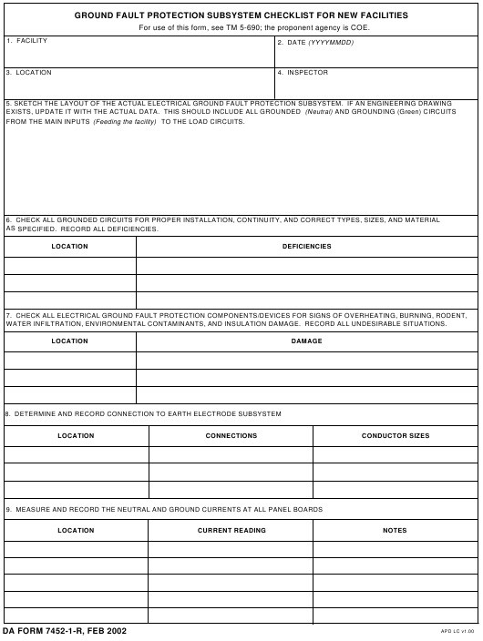 DA Form 7452-1-R Fillable Pdf
