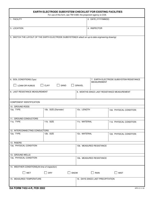 DA Form 7452-4-R  Printable Pdf