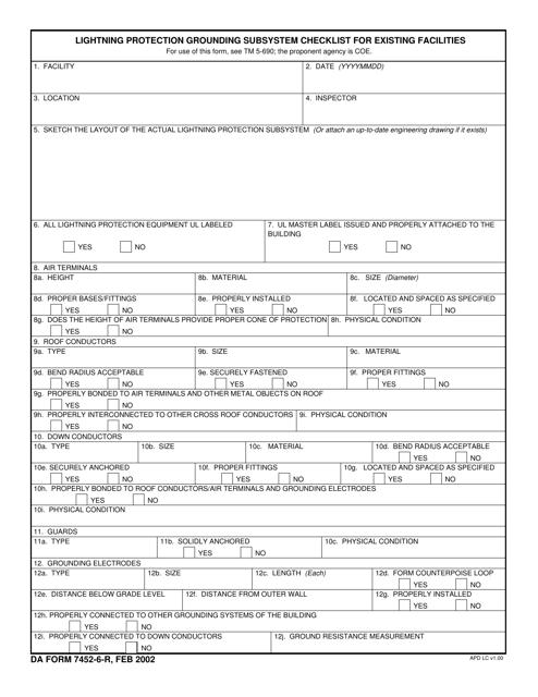 DA Form 7452-6-R Fillable Pdf