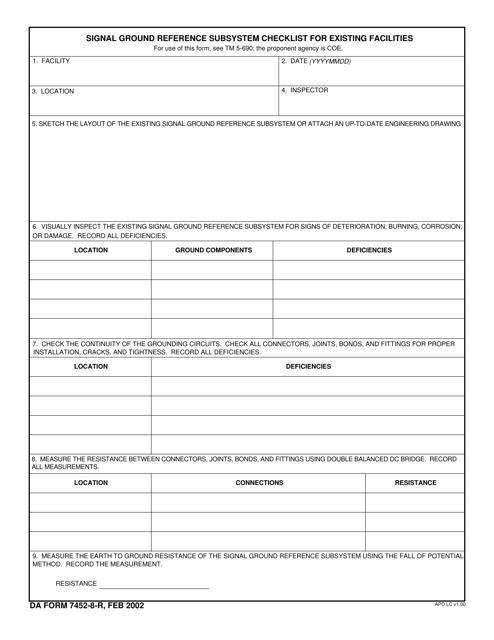 DA Form 7452-8-R Fillable Pdf