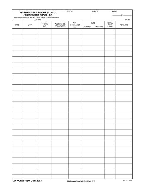 DA Form 5480  Printable Pdf