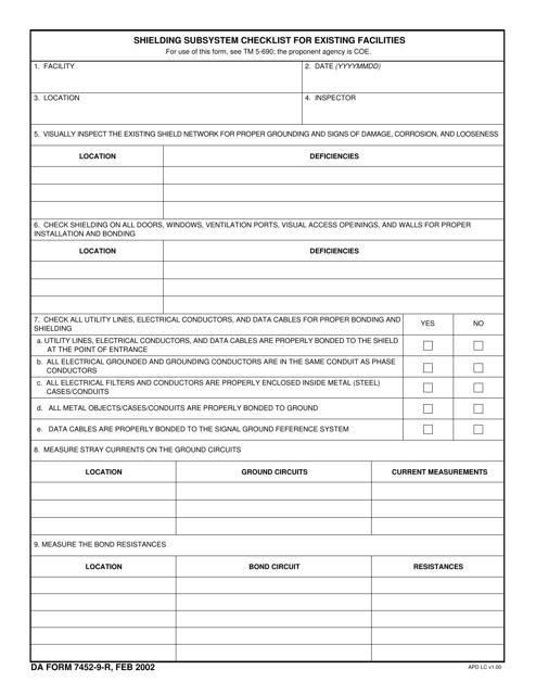 DA Form 7452-9-R  Fillable Pdf