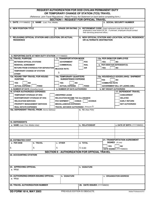 DD Form 1614  Printable Pdf