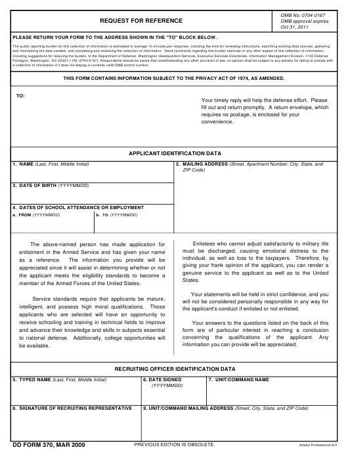 DD Form 370  Fillable Pdf