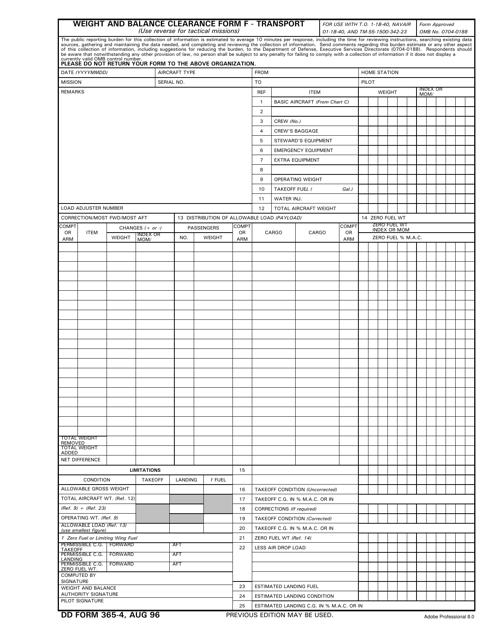 DD Form 365-4 Fillable Pdf