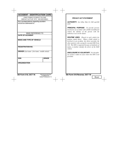 DD Form 518  Fillable Pdf
