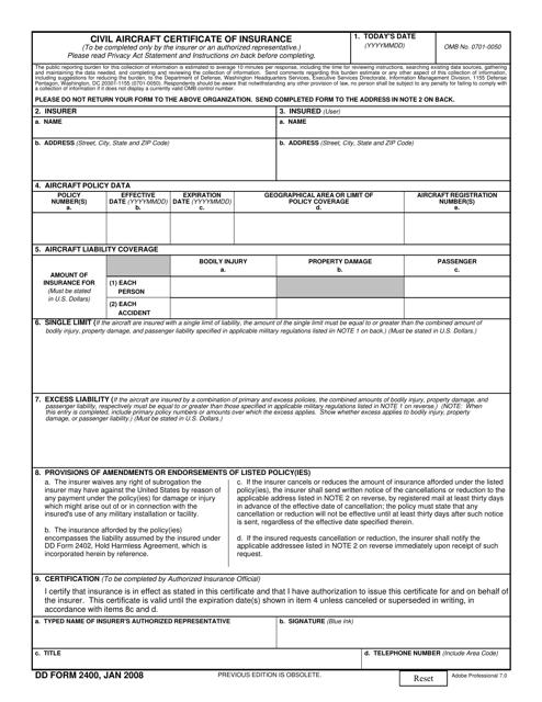 DD Form 2400 Fillable Pdf