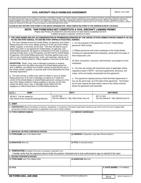 DD Form 2402  Fillable Pdf