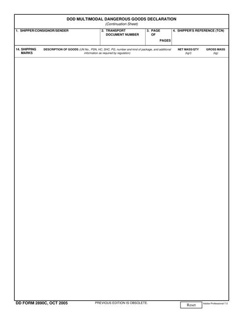 DD Form 2890C Fillable Pdf