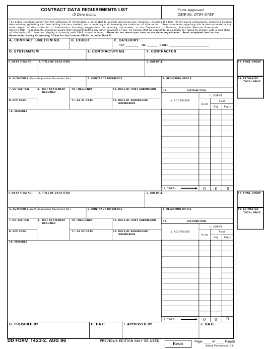 DD Form 1423-2 Fillable Pdf