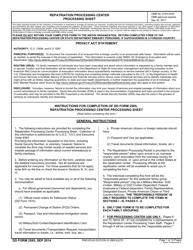 DD Form 2585 Repatriation Processing Center Processing Sheet