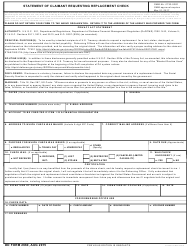 DD Form 2660 Statement of Claimant Requesting Recertified Check