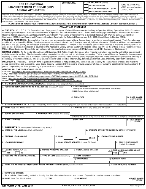 DD Form 2475  Fillable Pdf
