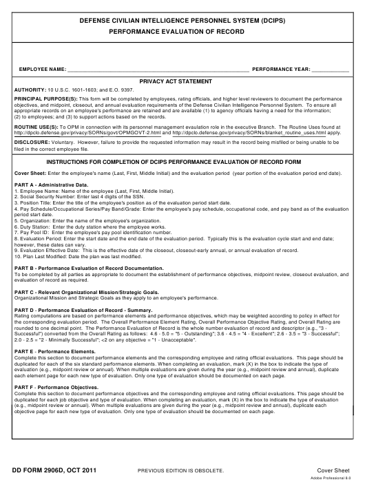 DD Form 2906D Fillable Pdf