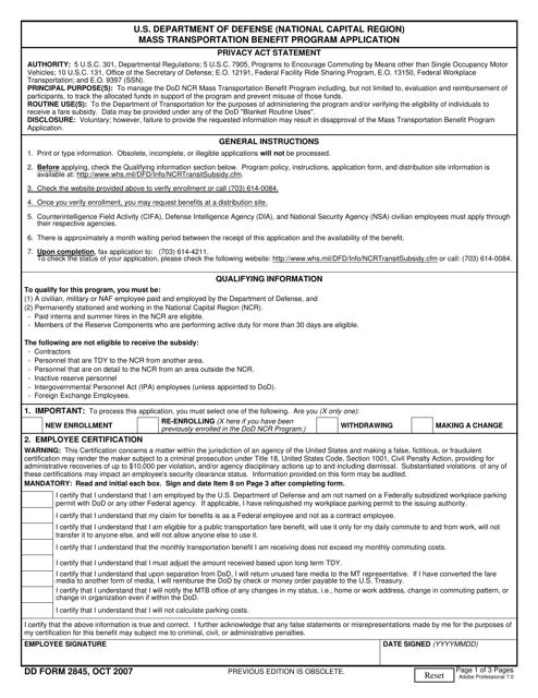 DD Form 2845 Download Fillable PDF, Mass Transportation