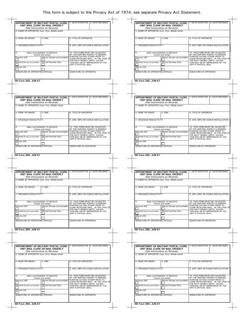 DD Form 285  Printable Pdf