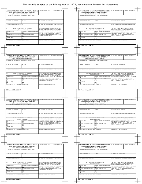 DD Form 285 Fillable Pdf