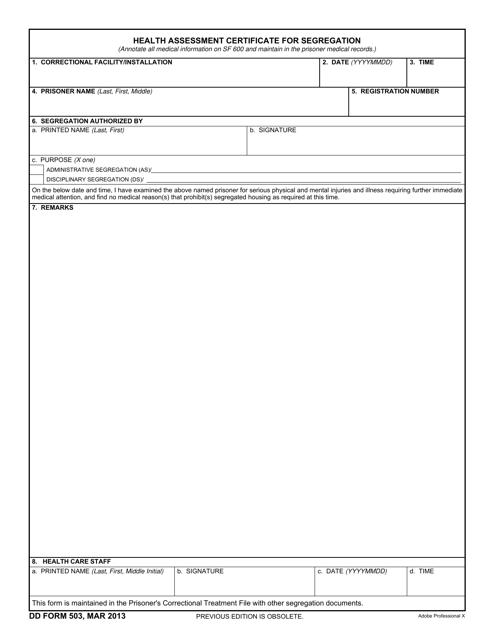 DD Form 503 Fillable Pdf