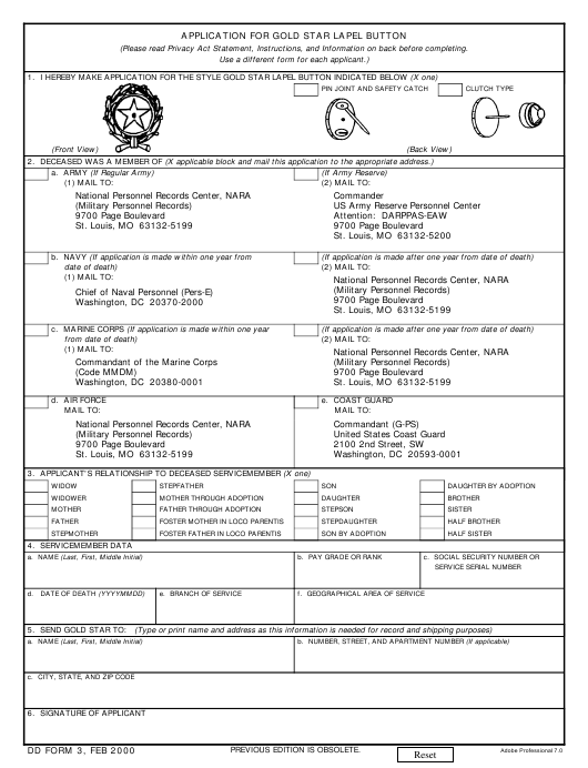 DD Form 3 Fillable Pdf