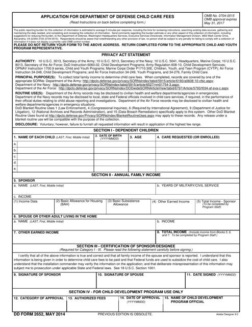 DD Form 2652  Fillable Pdf