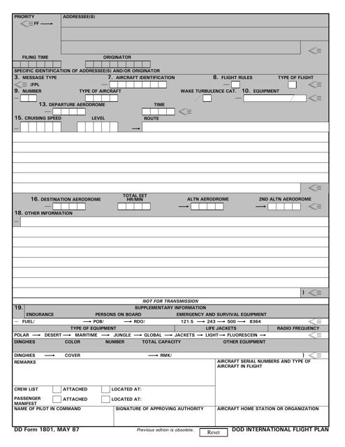 DD Form 1801 Fillable Pdf