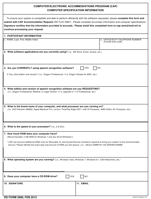 DD Form 2989 Download Fillable PDF, Computer/Electronic
