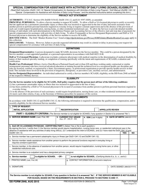 DD Form 2948  Fillable Pdf