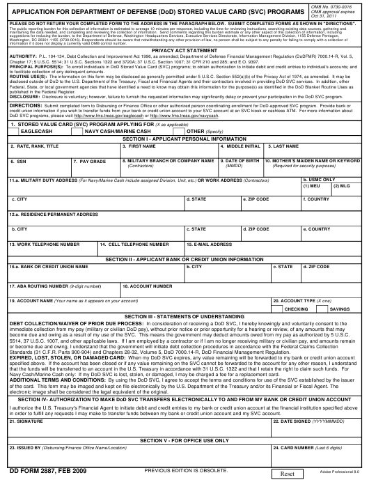 DD Form 2887  Fillable Pdf
