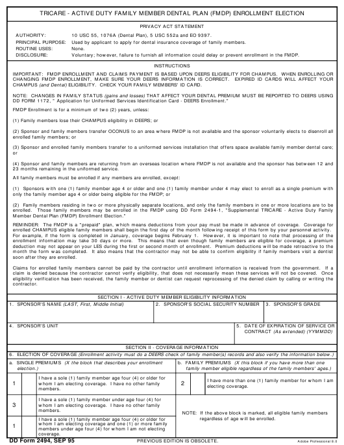 DD Form 2494 Fillable Pdf