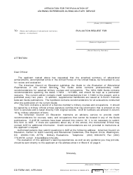 DD Form 295 Application for the Evaluation of Learning Experiences During Military Service