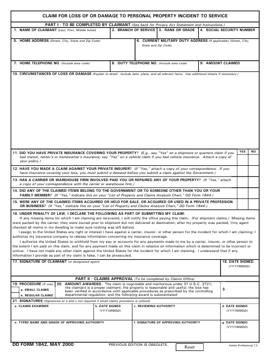 DD Form 1842 Fillable Pdf