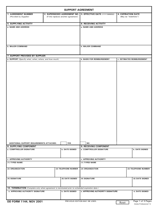 DD Form 1144  Fillable Pdf