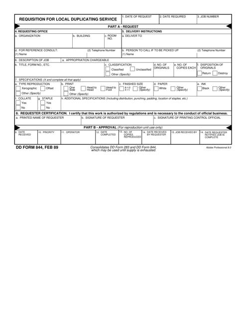 DD Form 844  Printable Pdf
