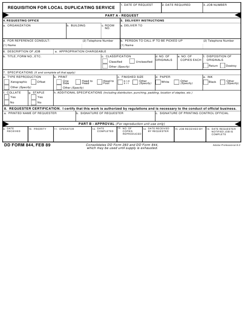 DD Form 844 Fillable Pdf